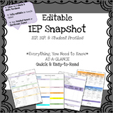 IEP Snapshot - IEP At-a-Glance - Quick IEP *Fully Editable*