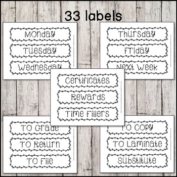 *Editable & Ink Friendly* Farmhouse Chic Teacher Drawer Labels