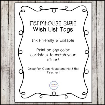 *Editable & Ink Friendly* Farmhouse Style Teacher Wish List Display