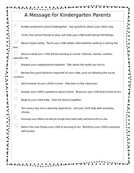 *Editable* Kindergarten Orientation Packet