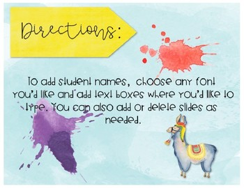 *Editable* Llama Name Tags
