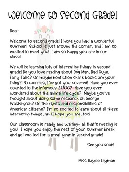 *Editable* Llama Welcome to School Letter