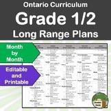 *Editable* Long Range Plans Gr.1-2 Ontario Curriculum –ALL SUBJECTS, FI Included