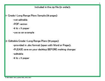 *Editable* Long Range Plans Gr.1 Ontario Curriculum – ALL SUBJECTS, FI Included