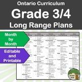 *Editable* Long Range Plans Gr.3-4 Ontario Curriculum –ALL SUBJECTS, FI Included