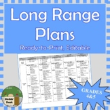 *Editable* Long Range Plans Gr.4/5 Ontario Curriculum – ALL SUBJECTS, FI too