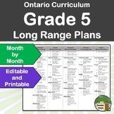 *Editable* Long Range Plans Gr.5 Ontario Curriculum – ALL SUBJECTS, FI Included