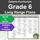 *Editable* Long Range Plans Gr.6 Ontario Curriculum – ALL