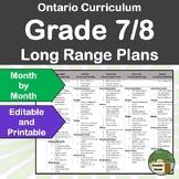 *Editable* Long Range Plans Gr.7-8 Ontario Curriculum – ALL SUBJECTS, FI too