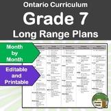 *Editable* Long Range Plans Gr.7 Ontario Curriculum – ALL SUBJECTS, FI too