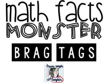 *Editable* Math Facts Monster Brag Tags