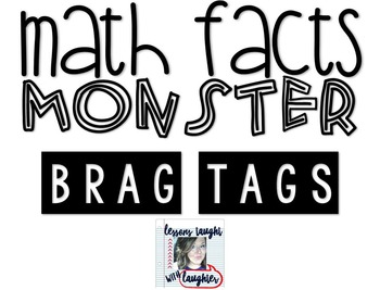 *Editable* Math Facts Monster Brag Tags