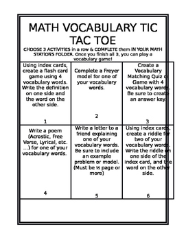 *Editable* Math Vocabulary Tic Tac Toe Board