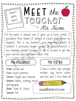 letter to parents template from teachers - editable meet the teacher letter free by sophie