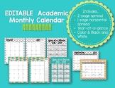 EDITABLE Academic Monthly Calendar 2017-18 {Mermaid}