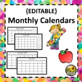 Editable Monthly Calendars 2017 - 2018 LIFETIME Updates