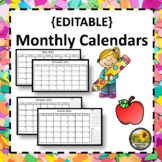 Editable Monthly Calendars 2018 - 2019 LIFETIME Updates