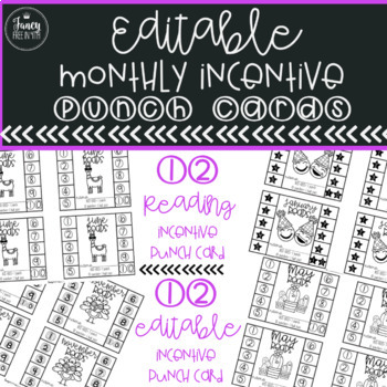 ::Editable:: Monthly Incentive Punch Cards  {for AR and More}