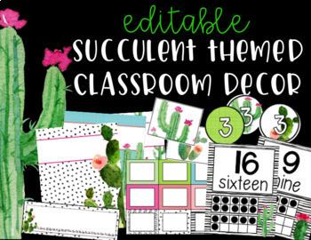 Succulent Cactus Classroom Decor Editable Bundle Tpt