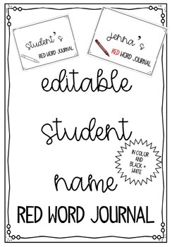 {Editable Name} Red Word Journal Cover