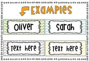 *Editable* Name Tags 'Natural Colors' Chevron Classroom Theme