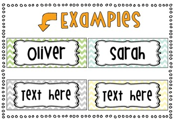 *Editable* Name Tags 'Natural Colors' Chevron Classroom Theme