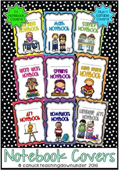 *Editable* Notebook Workbook Covers in 'Bright Dots' Classroom Theme