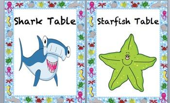 {Editable} Ocean Theme Table Signs