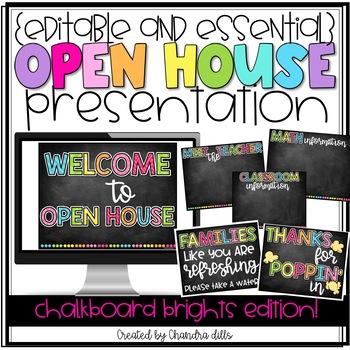 {Editable} Open House Presentation Essentials- Chalkboard Brights Edition