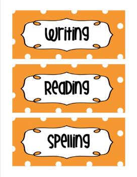 *Editable* Orange Polka Dot Nameplates, Labels, Bulletin Board 7 x 3