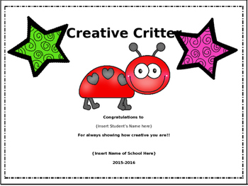 {Editable} Outstanding Classroom and End of Year Awards and Superlatives