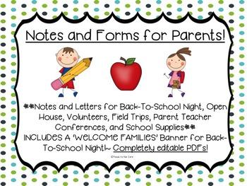 ~Editable PDFs~ Notes for Parents-Brochures, Conferences,