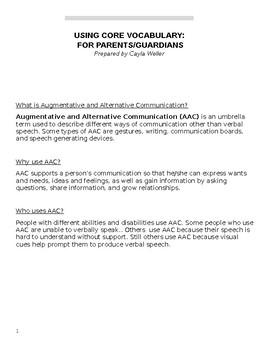 *Editable Parent Guide to Core Vocab