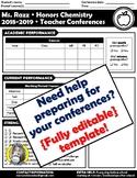 {Editable} Parent-Teacher Conferences Preparation Worksheet