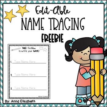 Editable Name Tracing Practice  FREEBIE