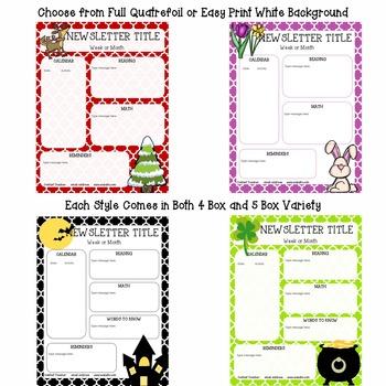 {Editable} Quatrefoil Seasonal Newsletters