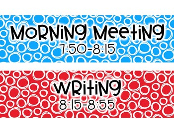 *Editable* Red and Blue Schedule Cards