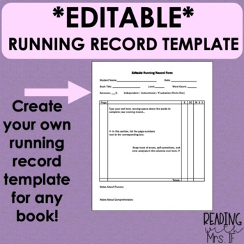 *Editable* Running Record Template Form