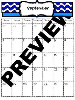 *Editable* 2017 - 2018 Calendar