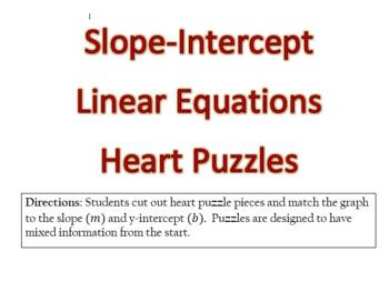 *Editable* Slope-Intercept Linear Equations Heart Puzzles