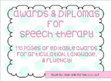**Editable** Speech Therapy Awards and Diplomas