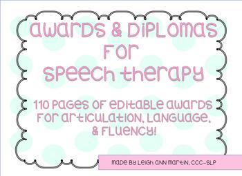 **Editable** Speech Therapy Awards and Diplomas