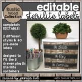 EDITABLE Sterilite Labels (Rustic Wood)