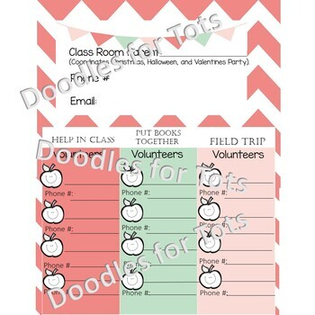 *Editable Student/Parent Back to School Night Forms~Volunteers, etc.