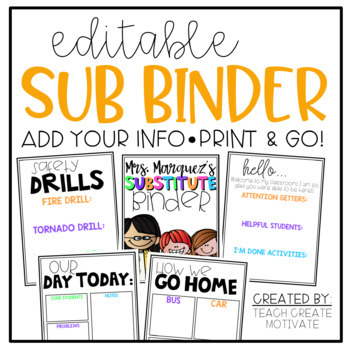 *Editable* Substitute Binder {color & black line}