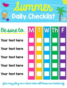 *Editable* Summer Schedule, Weekly Planner, Daily Checklist & Bucket List