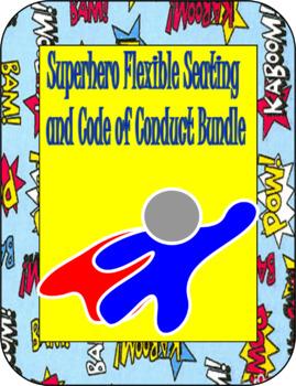 {Editable} Superhero Flexible Seating and Code of Conduct Bundle
