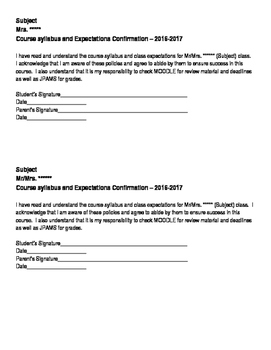 *Editable* Syllabus Contract - Two on one page