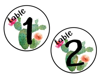 **Editable** Table Numbers - Signs - Succulent Themed - Decor