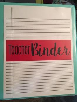 *Editable* Teacher Binder